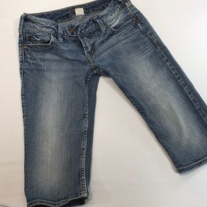 Silver Jeans Denim Bermuda Shorts Distressed Flap